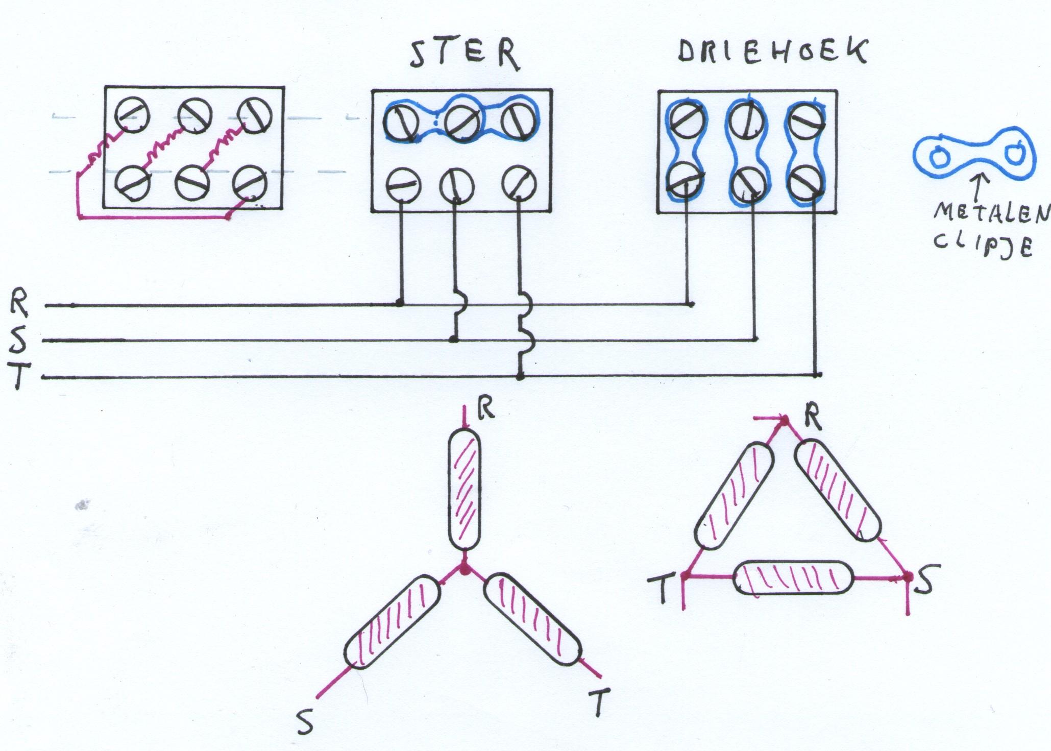 Elektromotor aansluiten ster driehoek